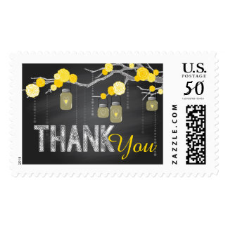 Chalkboard Rose Branch Rustic Thank You Postage