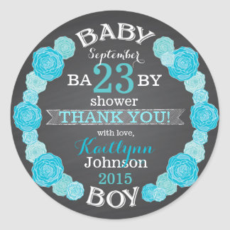 Chalkboard Rose Flower Wreath Baby Shower Label