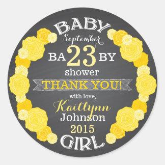 Chalkboard Rose Flower Wreath Baby Shower Label Classic Round Sticker