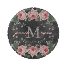 Chalkboard Rose Monogram Jelly Belly Tin