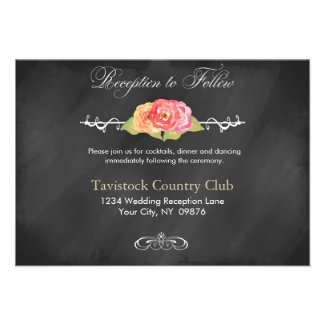 Chalkboard Roses Abstract Flowers Reception Card