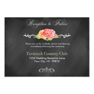 """Chalkboard Roses Abstract Flowers Reception Card 3.5"""" X 5"""" Invitation Card"""