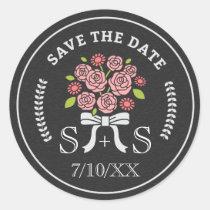 Chalkboard Roses Save the Date Custom Monogram Classic Round Sticker