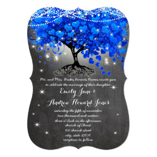 Chalkboard Royal Blue Heart Leaf Tree Mason Jar Card