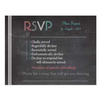 Chalkboard RSVP Card Postcard