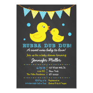 Rubber ducky baby shower invitations cute baby shower invitations chalkboard rubber duck baby shower invitations 5 filmwisefo Gallery
