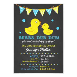 Chalkboard Rubber Duck Baby Shower Invitations