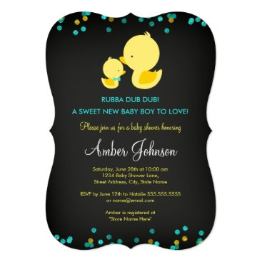 Toddler & Baby themed Chalkboard Rubber Duck Baby Shower Invite