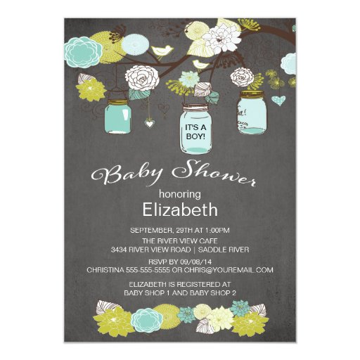 Chalkboard Rustic Country Mason Jar Baby Shower 5x7 Paper Invitation Card