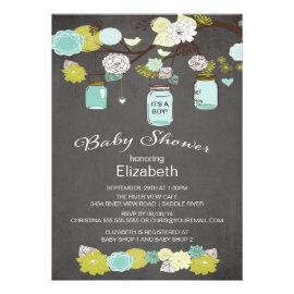 Chalkboard Rustic Country Mason Jar Baby Shower Invitation
