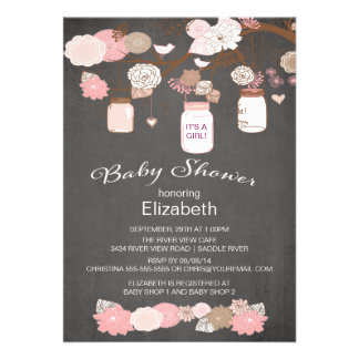 Chalkboard Rustic Country Mason Jar Baby Shower Personalized Invitations