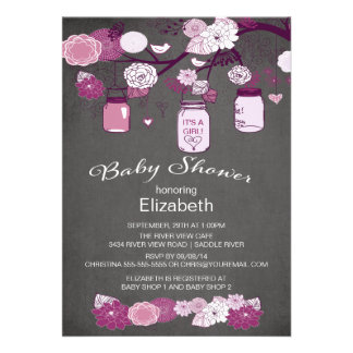 Chalkboard Rustic Country Mason Jar Baby Shower Invitations