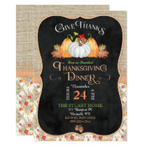 Chalkboard Rustic Country Thanksgiving Burlap Lace Invitation