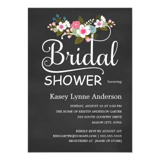 Chalkboard Rustic Floral Bridal Shower Personalized Announcements