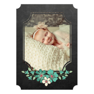 Chalkboard Rustic Floral Typography Sip N See 5x7 Paper Invitation Card
