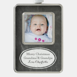 Chalkboard Rustic Grandparents Christmas Ornament