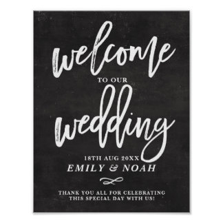 Chalkboard Rustic Hand Lettering Wedding Welcome Poster