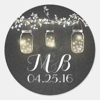 chalkboard rustic lights mason jars wedding classic round sticker
