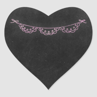 Chalkboard Rustic Shabby Chic Pink Chalk Bunting Heart Sticker