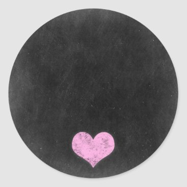 Valentines Themed Chalkboard Rustic Shabby Chic Pink Chalk Heart Classic Round Sticker