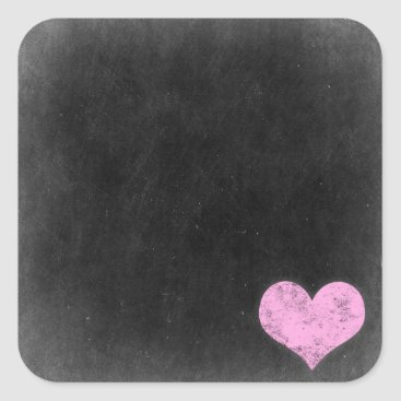 Valentines Themed Chalkboard Rustic Shabby Chic Pink Chalk Heart Square Sticker