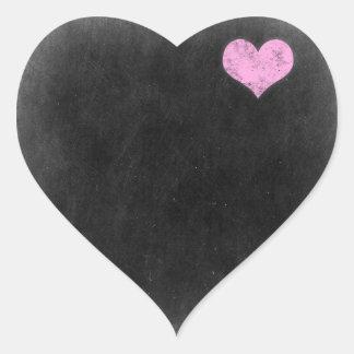 Chalkboard Rustic Shabby Chic Pink Chalk Love Heart Sticker