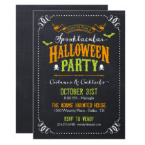 Chalkboard Rustic Spooktacular Halloween Party Invitation