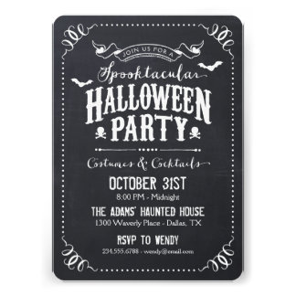 Chalkboard Rustic Spooktacular Halloween Party Personalized Announcement