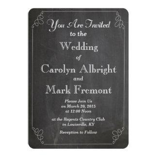 Chalkboard Rustic Typography Vintage Wedding Card
