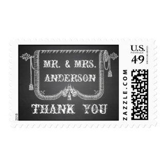 Chalkboard Rustic Wedding Thank You Postage Stamps