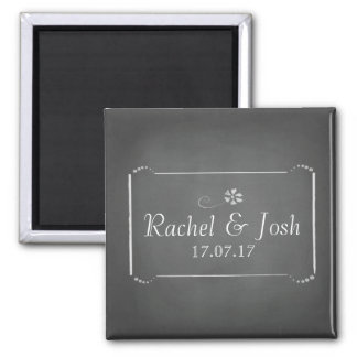 Chalkboard Save the Date 2 Inch Square Magnet