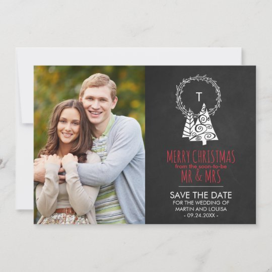 Christmas Save The Date Cards.Chalkboard Save The Date Christmas Photo Card