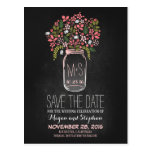 Chalkboard save the date - Floral Mason Jar Post Cards
