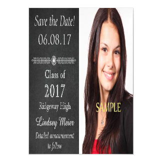 Chalkboard Save the Date Graduation Magnetic Card