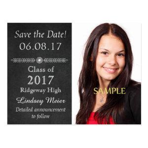 Chalkboard Save the Date Graduation Postcard