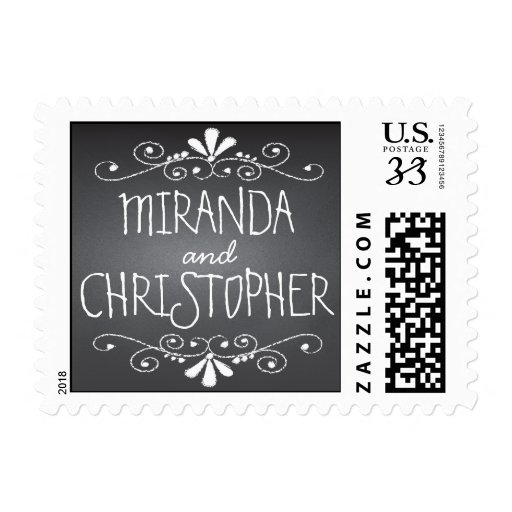 Chalkboard Save the Date Personalized Name Postage