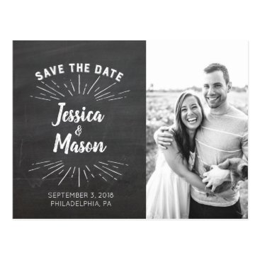 Bride Themed Chalkboard Save The Date Postcard