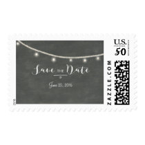 Chalkboard Save-the-Date, twinkle lights Postage