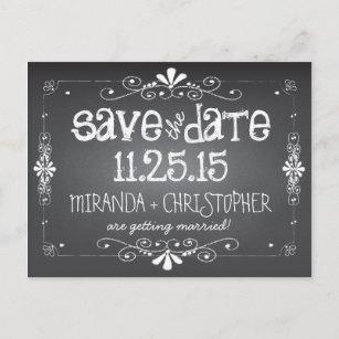 chalkboard save the date wedding postcard
