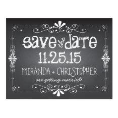 Chalkboard Save the Date Wedding Postcard at Zazzle