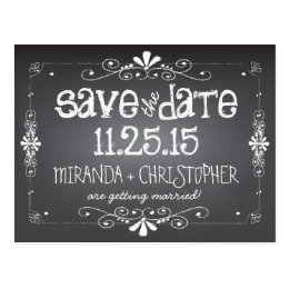 Chalkboard Save the Date Wedding Postcard