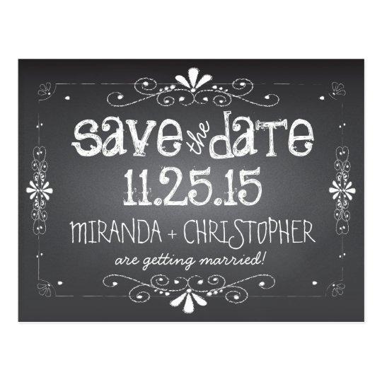 Perfect Chalkboard Save the Date Wedding Postcard | Zazzle.com FD94