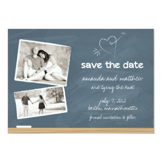 Chalkboard Save the Date with Photos Card