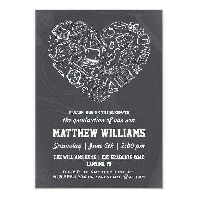 Chalkboard School Heart Graduation Invitation
