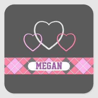 Chalkboard School Pink Hearts with Argyle Girly Square Sticker