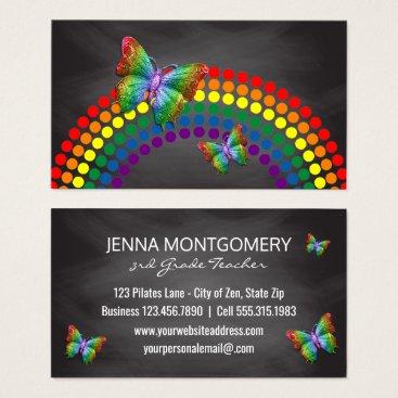 Chalkboard School Teacher | Rainbow Butterflies Business Card