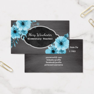 Chalkboard School Teacher | Tutor Education Floral Business Card