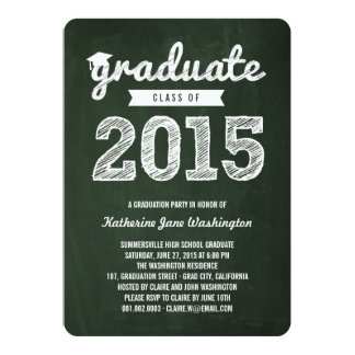 Chalkboard Scribbles Graduate Class Of 2015 Party 5x7 Paper Invitation Card
