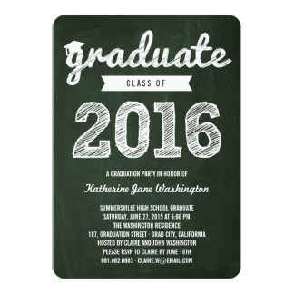 Chalkboard Scribbles Graduate Class Of 2016 Party Card
