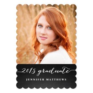 "Chalkboard Script 2015 Graduation Party Invitation 5"" X 7"" Invitation Card"